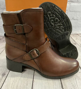 Trivect Women's Zoey Ankle Boots Zip-Up Friar Brown Size 8.5 (EU39) New With Box