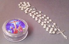 Rosary WHITE FAUX PEARL Bead w/Keepsake Case Necklace CRUCIFIXION Image