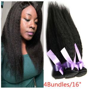Kinky Straight Hair Brazilian Virgin Hair Weave 4 pcs 100% Human Hair Extensions