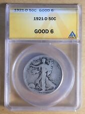 United States 1921-D Walking Liberty Half; ANACS Good-6