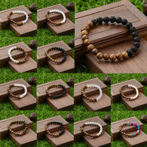 8mm Wood Beads Crown Energy Yoga Reiki Women  Men's Couple Bracelets Jewelry