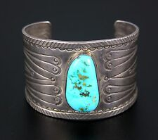NAVAJO STERLING SILVER & TURQUOISE CUFF BRACELET by AMBROSE ROANHORSE