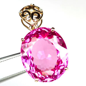 TOPAZ PLATINUM PINK OVAL PENDANT 39 CT. SAPPHIRE 925 STERLING SILVER ROSE GOLD