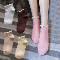Vintage Women Flower Edge Sweet Socks Purfle Ruffles Cotton Ankle Socks Solid
