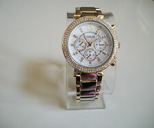 Gold and silver finish hip hop bling women's boyfriend fashion watch
