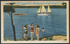Boating Swimming boats Kentucky Lake Ky linen postcard