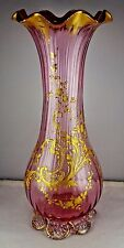 Antique Bohemian Pink Ribbed Glass Gold Encrusted Floral Footed Vase