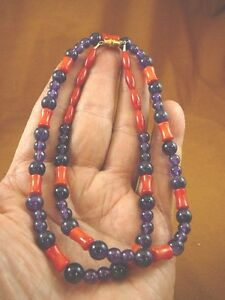 """(v30-122) 24"""" long 10x5 red Bamboo coral + purple Amethyst bead Necklace JEWELRY"""