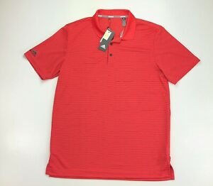 Adidas Performance 2 Color Stripe Coral Club Golf Polo Short Sleeve Shirt Medium