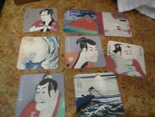 vintage 8 collectible japan various figures scenic scene design cup coasters