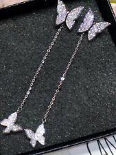 Ladies 925 silver butterfly design drop earrings jewellery dress present gift