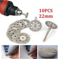 10x Mini Diamond Cutting Discs Wheel Blades Set+Drill Bit For Dremel Rotary Tool