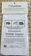 The Posy Collection Cross Stitch Kit Yellowstone Wildlife Sampler, 12.5 x 5.5