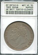 GREAT BRITAIN - BEAUTIFUL GEORGE IV SILVER CROWN, 1822, KM# 380.2, ANACS VF 30