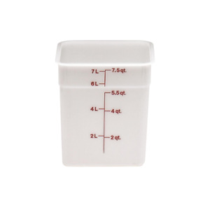 Cambro 8SFSP148 Square Container 8 Quart Capacity, White, BPA free