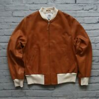 New Golden Bear Leather Bomber Jacket Size M Made in USA Brown