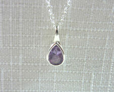 0.74ct Purple Amethyst Solid 925 Sterling Silver Solitaire Pendant & Chain