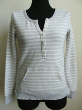 Aerie Sweater Gray And White Striped Henley Style With Pocket Women's Size XS