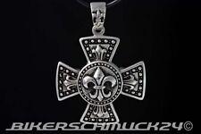 Eisernes Kreuz Anhänger Iron Cross mit Ritterlien Edelstahl mit Lederband Biker