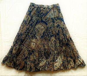 Vintage 80s long skirt - Indian block print cotton - stretchy waist - size L/XL