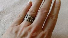 Vintage band RING sterling silver 11mm wide Unisex artisan sz 7 Taxco Mexico MOD