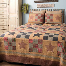 PRAIRIE CABIN 3p KING QUILT SET : PRIMITIVE STAR PATCH CABIN RUSTIC RED BEDDING