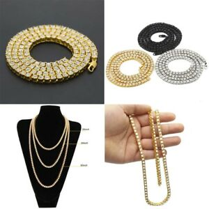 Hip Hop Unisex Men's 1 Row Crystal Chain Tennis Necklace Jewelry 20/24/30 inch