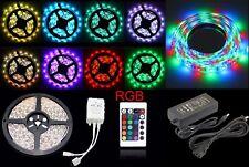 10/5M SMD 5050/3528 RGB 300/600 LED Strip Adapter IR Remote Waterproof Kit Xmas