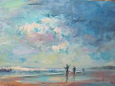 """Painting of Anglers on the Beach Normandy Impressionism Artist Nino Pippa 12""""X16"""