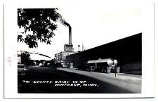 1963 RPPC Tri-County Dairy Co-op & Milk Trucks, Winthrop, MN Real Photo Postcard