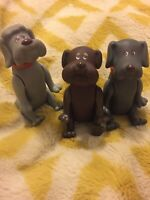 Pound Puppies Vintage 80s Toy 3 Posable Dog Figures Movable Legs & Head 1986