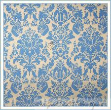 BonEful Fabric FQ Cotton Quilt Country Baby Blue Cream VTG Flower Damask Leaf Lg