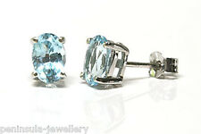 9ct White Gold Blue Topaz Oval Stud Earrings Gift Boxed Studs Made in UK