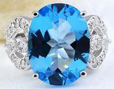 11.42 Carat Natural Topaz 18K Solid White Gold Luxury Diamond Ring