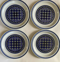 "Set of 4 Dinner Plates 10 1/4"" by Royal Doulton Tangier 1973 Blue LS1005 England"