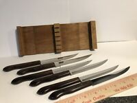 Vintage Stainless Imperial USA Steak Knives 6 With Wood Holder