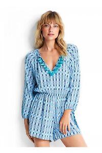 SEAFOLLY blue bazaar textured mini print tassle jumpsuit - size Large.