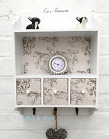 Shabby Chic Wall Shelf Storage Unit Drawers & Hooks Wooden Cupboard Cabinet