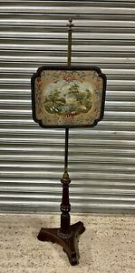 Antique Victorian Mahogany Fire Screen adjustable with an Embroidered Picture
