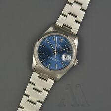 ROLEX Oyster Perpetual DATE 15210 34mm AUTOMATIK Saphirglas BLUE blau Steel