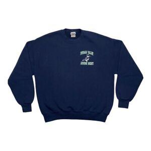 Potomac Valley Audubon Society Mens Jerzees Blue Bird Crewneck Sweatshirt Size L
