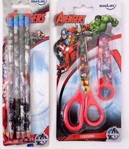 Marvel Avengers Assemble Boy's School Paper Scissors With 4 Graphic Pencils NWT