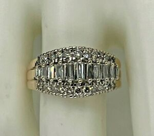 14k Yellow Gold 1 Ct Tw Round Diamond Baguette Tapered Ring Size 7 1/4 - 6.9 Gm