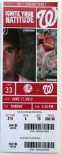 New York Yankees vs Washington Nationals Ticket Stub 6/17/12