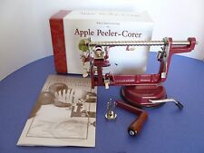 Williams Sonoma Red Metal Table Counter Top Apple Peeler Corer. Excellent