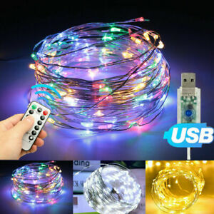 50/100 LED String Fairy Light With USB Remote For Halloween Xmas Party Decor