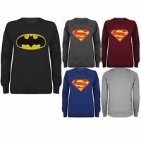Womens Ladies Comic Hero Sweater Jumper Superman Batman Sweatshirt Top Size 8-14