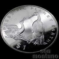 STORKS - $1 Dollar CuNi Coin 1995 LIBERIA AFRICA Preserve Planet Earth BIRDS