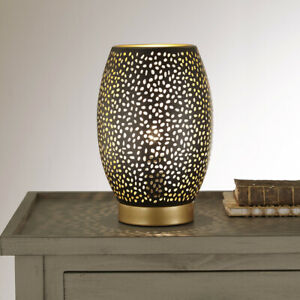 Black Table Lamp with Metal Stenciled Finish and Gold Finish Stencil Look