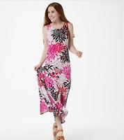 Attitudes by Renee Petite Como Jersey Printed Godet Maxi Dress - Pink - PXS